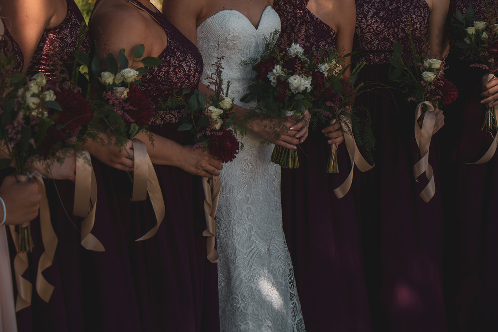 The bridal party - bride and bridesmaids - photographed before a wedding in Lewistown, MT.
