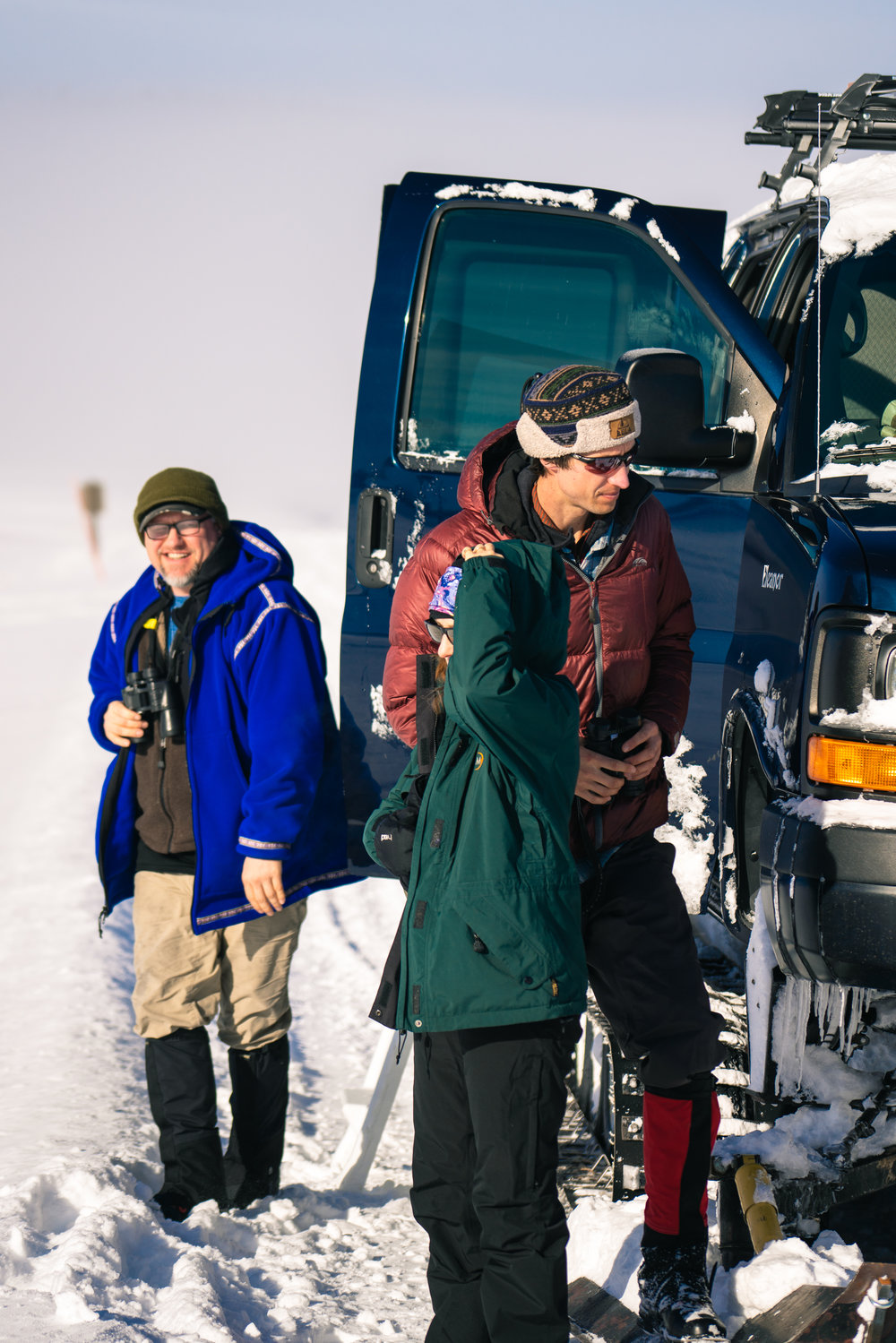 Unloading from Yellowstone Expeditions' snowcoach in Yellowstone National Park.