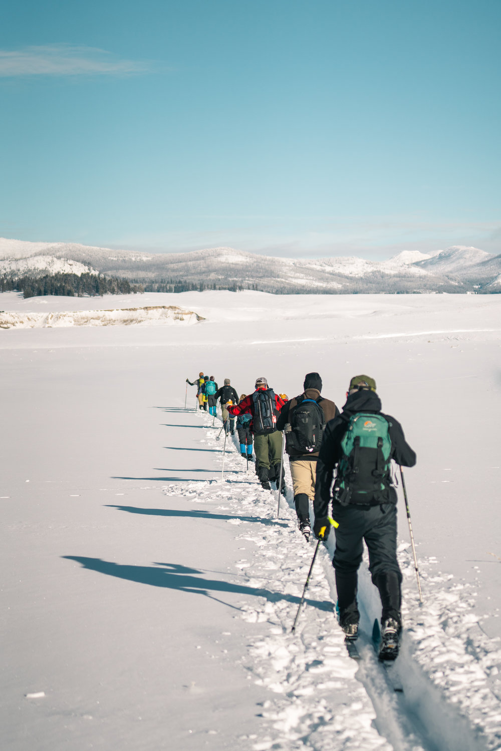 Cross-country skiing through the Pelican Valley in Yellowstone National Park.