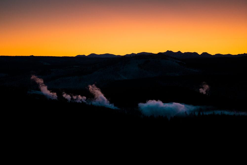 Steam rising of Washburn Hot Springs, Yellowstone National Park.