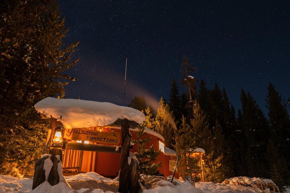 Nighttime at Yurt Camp, Yellowstone Expeditions. Yellowstone National Park.