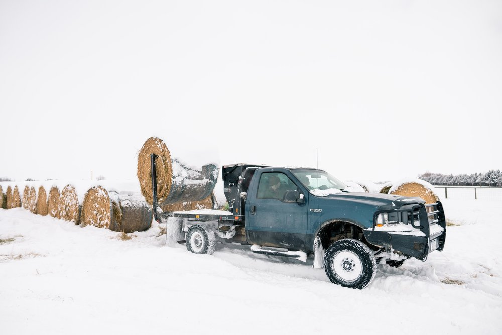 Using the pickup truck to get hay bales during winter.