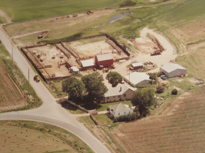Aerial view of the farm showing the corral system as it fit with the buildings.