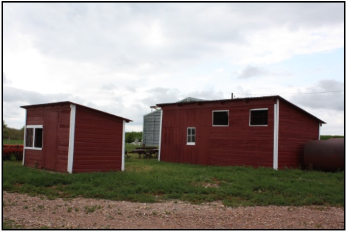 View of the chicken houses from the southeast corner.