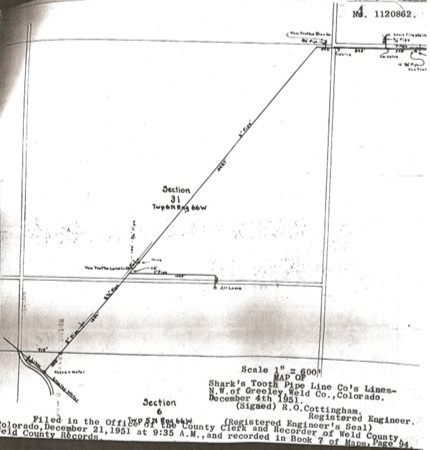 Original map of Shark's Tooth Pipe Line