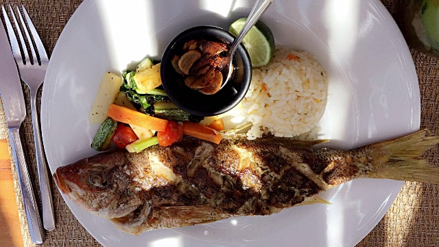 Grilled fish of the day at Piedra Escondida.