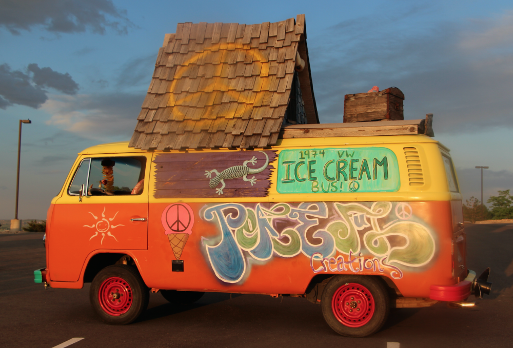 Peaceful Creations - Ice Cream Bus  Peaceful Creations is a groovy 1974 VW Ice cream Bus serving tasty sundae concoctions named after icons who famously supported world peace. Indulge your taste buds for flavorful frozen fun, all the while being inspired to help the world become a more loving, peaceful place :)