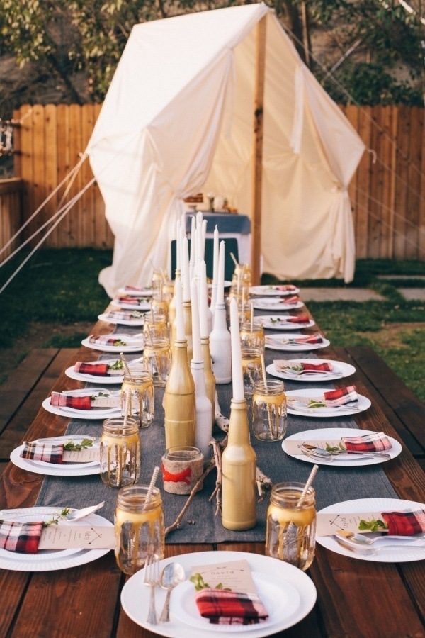 Glamping inspired engagement party.