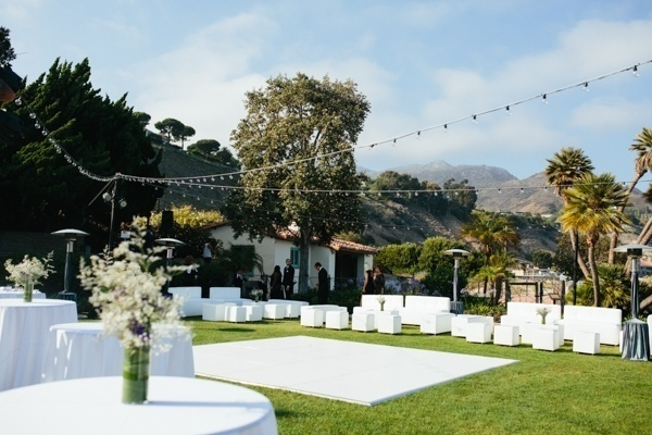 Simple white and glam outdoor wedding reception