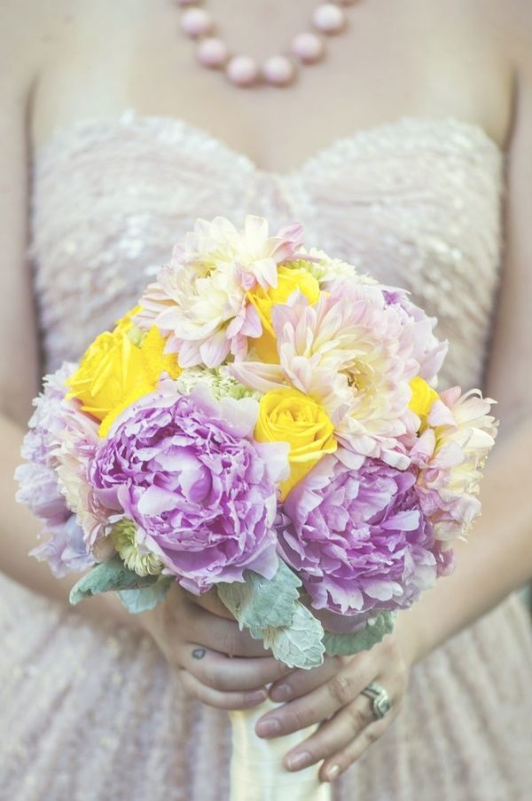 Springtime pink and yellow flower bouquet