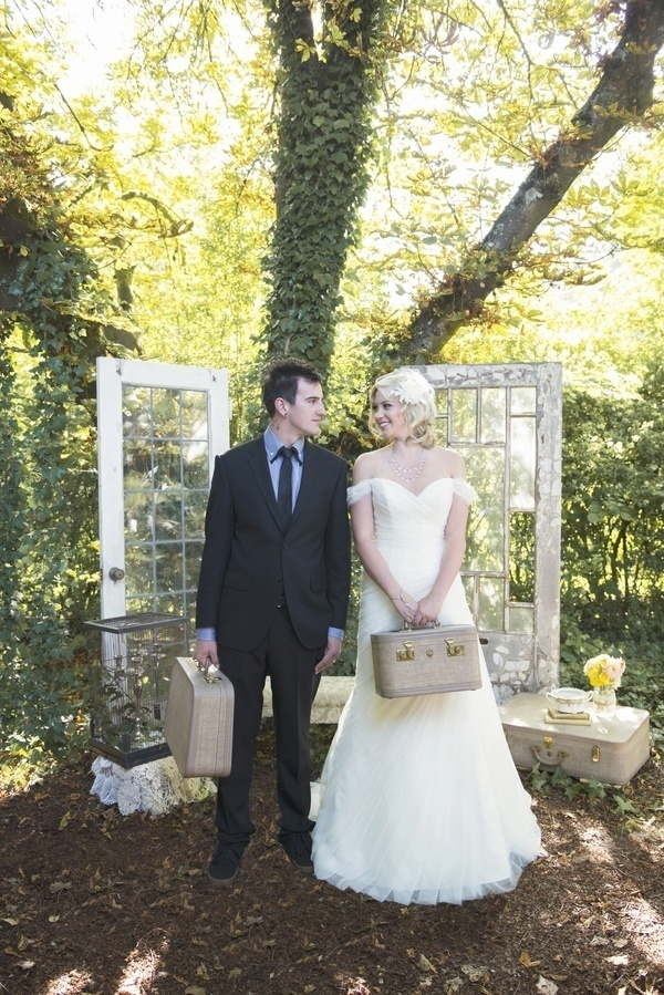 Romantic pink and gold styled shoot with rustic details.