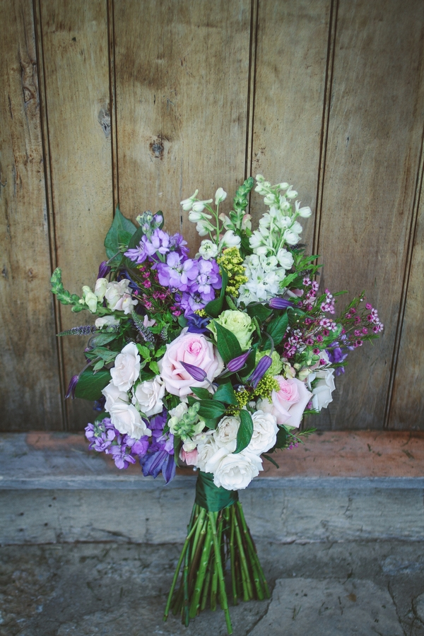 Gorgeous wild purple and green wedding bouquet