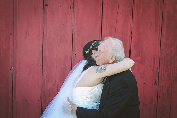 The bride's first look with her father. This is so sweet!