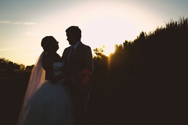 Gorgeous wedding portrait of the bride and groom at the magic hour