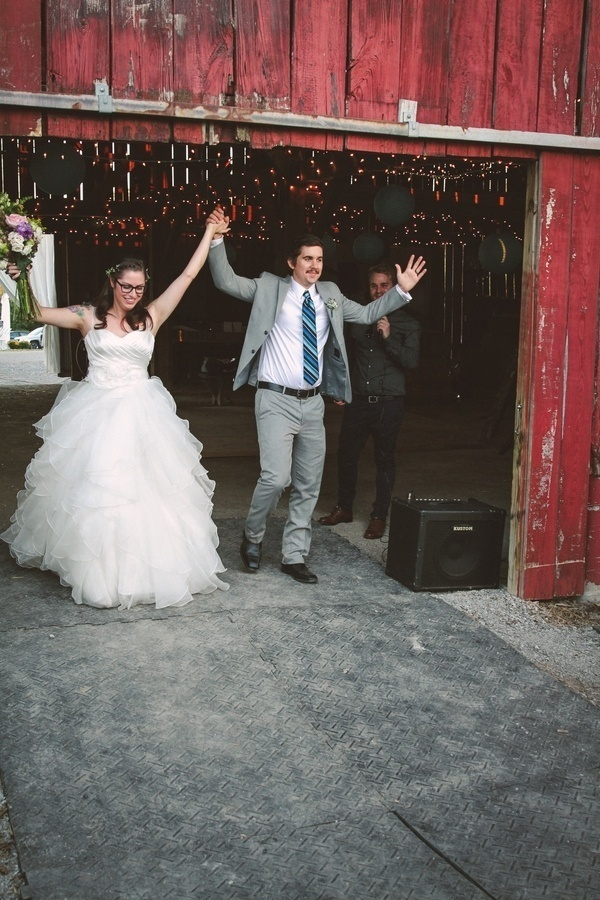 The bride and groom's big entrance at their wedding reception!