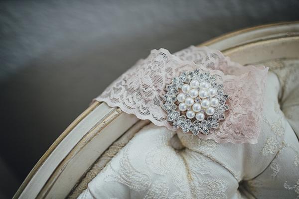 Pink wedding garter