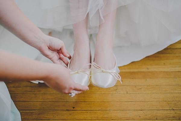 Elegant ballet flats bride