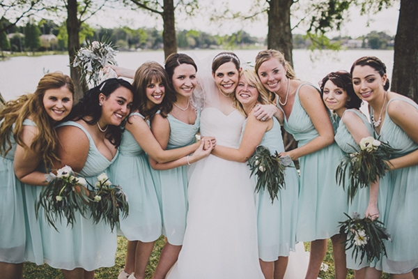 Bridesmaids in mint dress