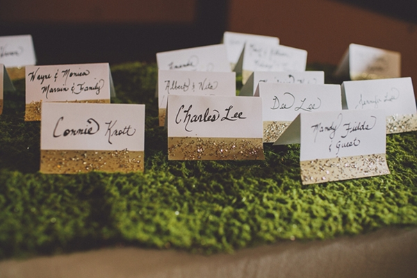 DIY gold wedding escort cards