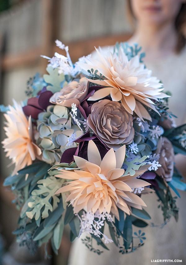 Gorgeous rustic paper flower bouquet