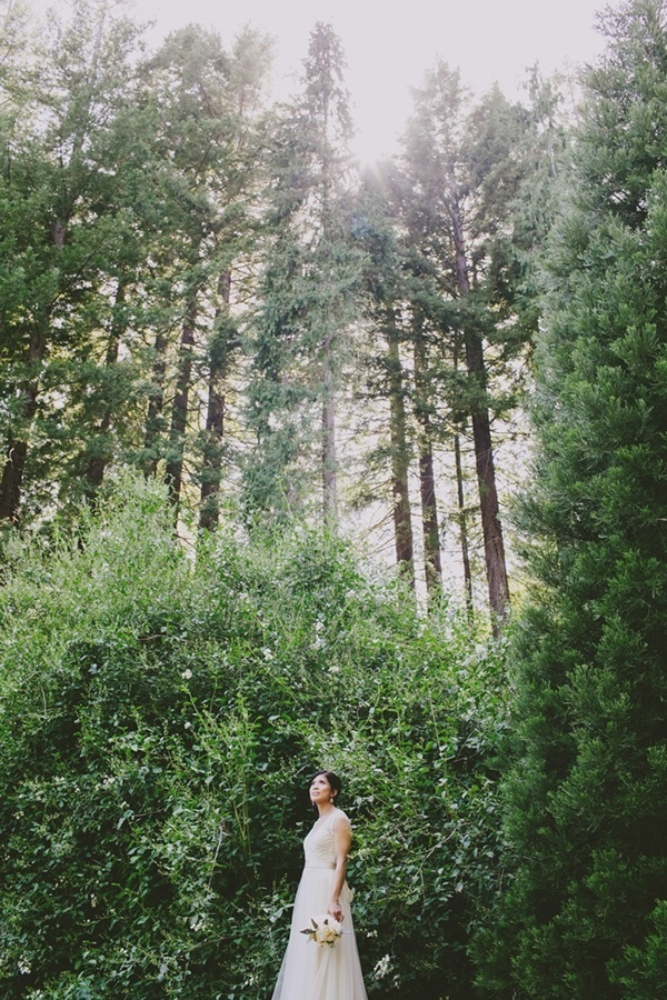 Beautiful photo of the bride in the forest