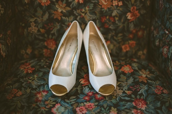 beautiful white wedding shoes.
