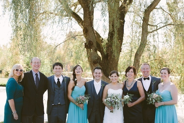 Bride and groom with their family!