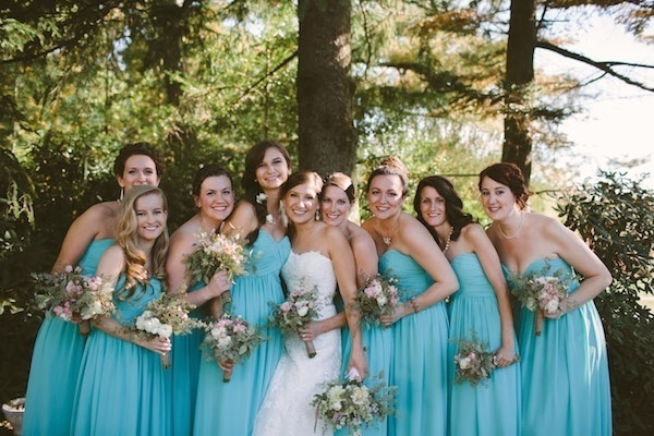 Bride with her beautiful bridesmaids in blue!