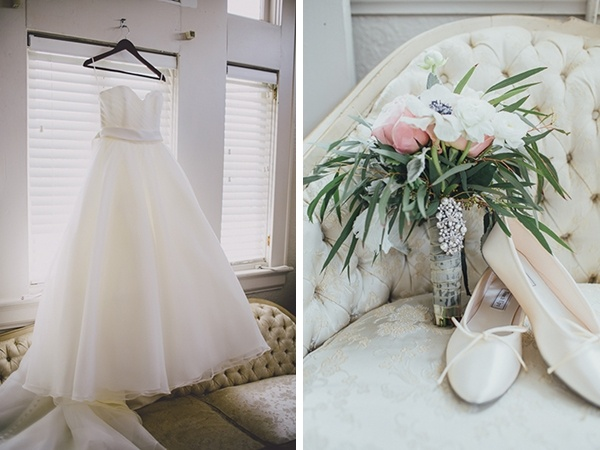 Elegant fluffy classic wedding dress and shoes