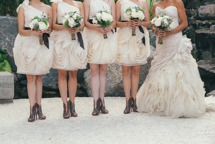 Neutral colored Vera Wang bridesmaid dresses