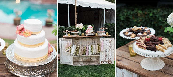Dessert table for a backyard wedding
