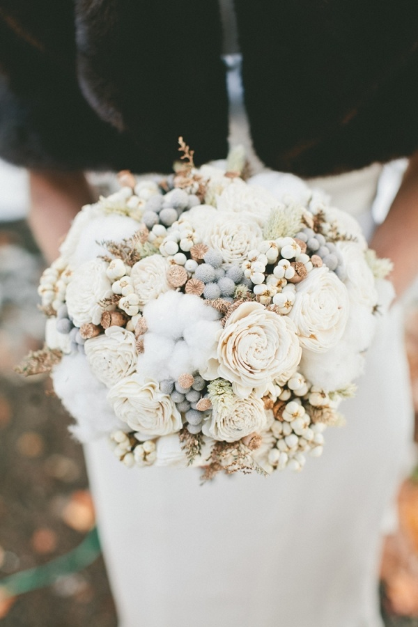 A glam white and gold winter wedding by onelove photography beautiful white winter wedding bouquet mightylinksfo