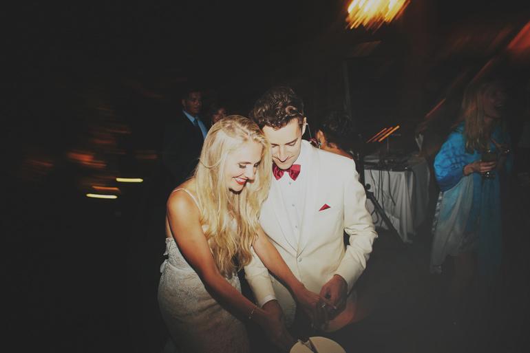 Wedding reception cake cutting photo