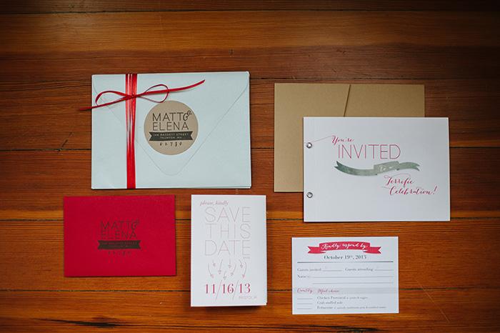 Sweet red wedding invitation stationery