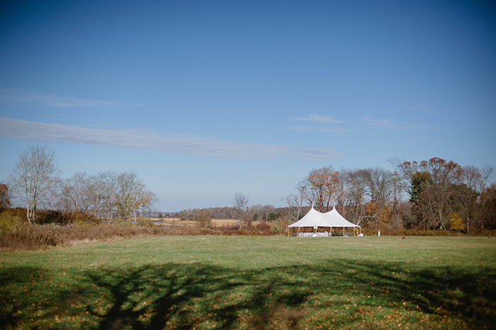 Fall wedding ceremony in a meadow
