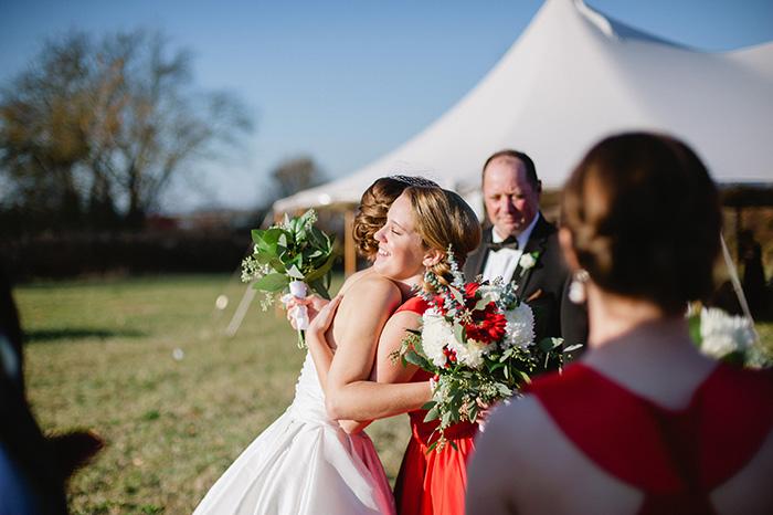 bride bridesmaid wedding ceremony photo
