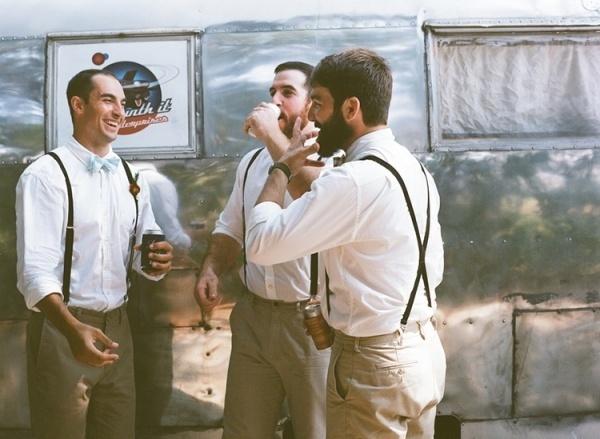 Groomsmen in suspender and bowties