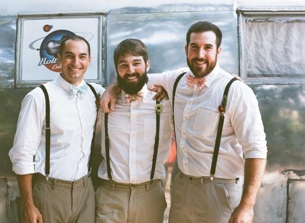 Groomsmen in suspenders and bowtie idea