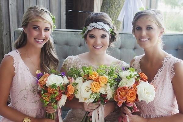 Boho bride and bridesmaids