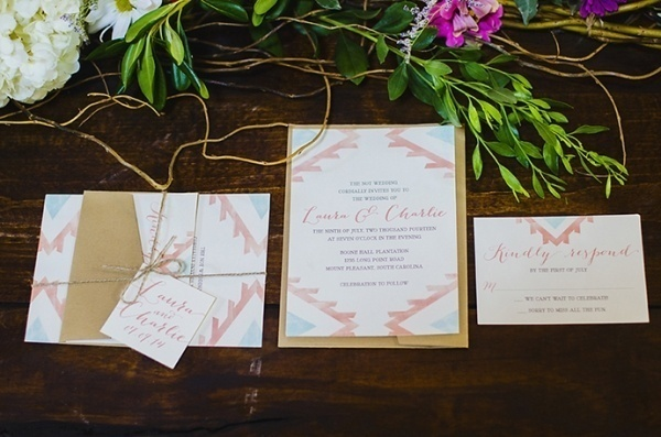 Pink and blue wedding invitations