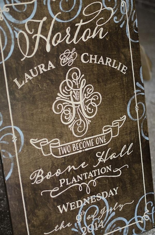 Adorable wedding sign idea with a monogram