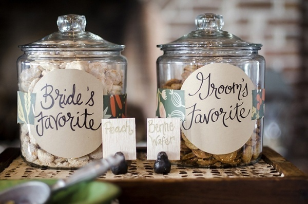 Cookie jar with the bride and groom's favorite flavors