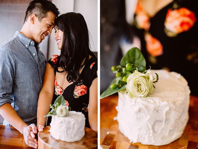 Cake baking engagement photos