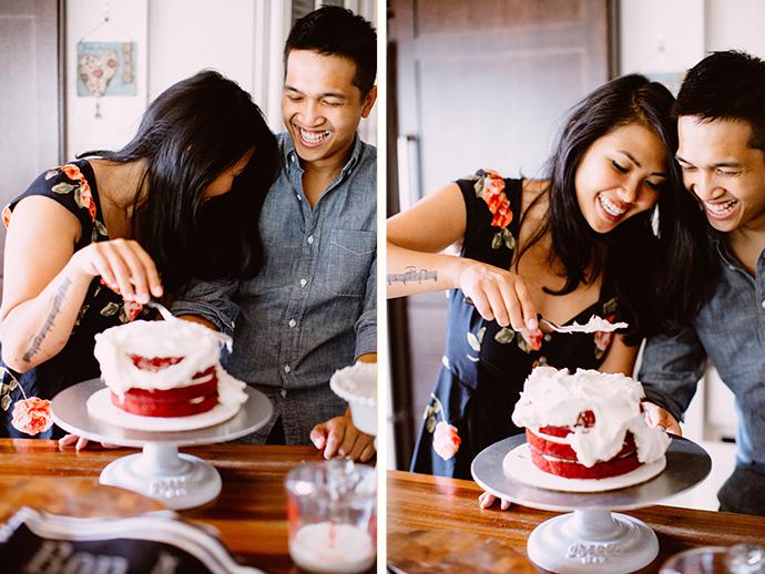 Red velvet cake engagement photos