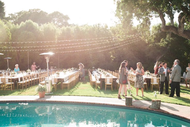 Backyard wedding reception decor