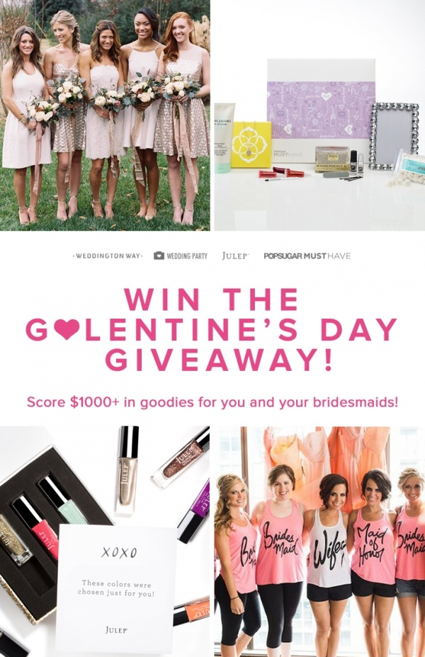 Enter Wedding Party's Galentine's Day Giveaway to get over $1000 of wedding goodies for you and your bridesmaids!