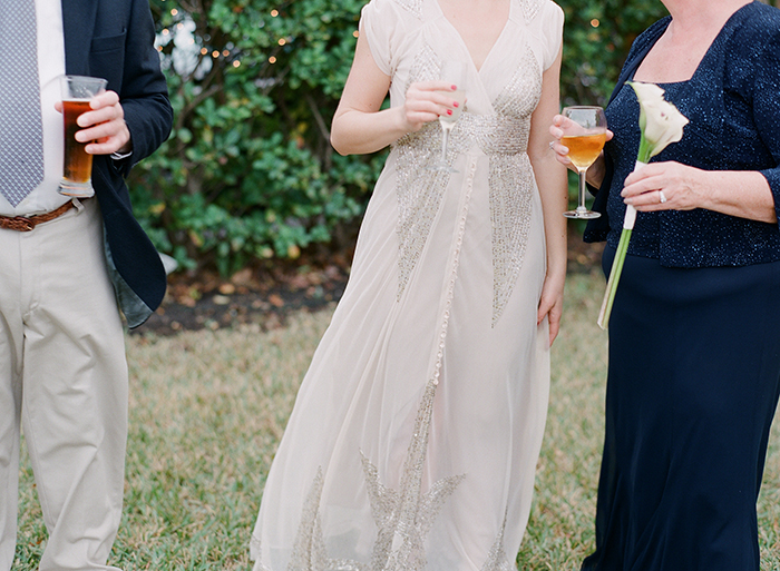 Bride in a bhldn dress