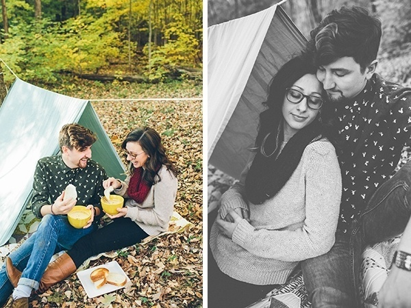 Cozy & rustic outdoor fall picnic engagement