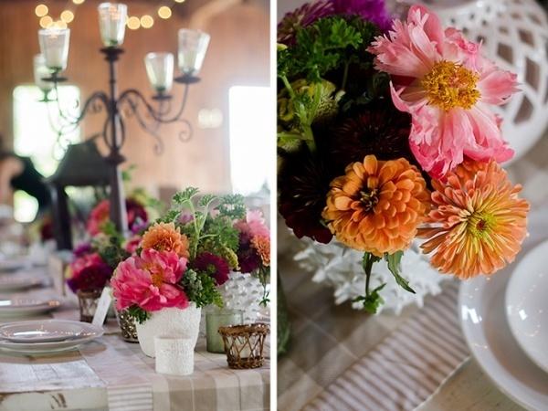 Colorful wedding flower decor