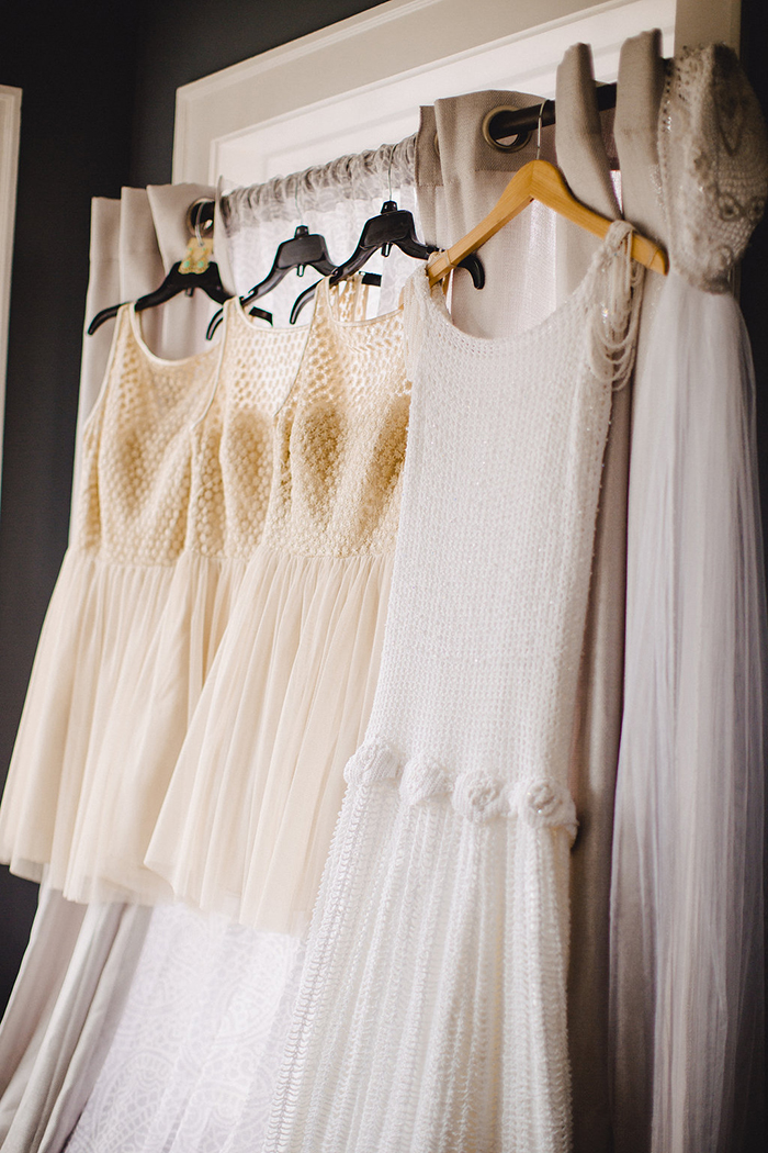 Beautiful vintage wedding dress and bridesmaid dresses